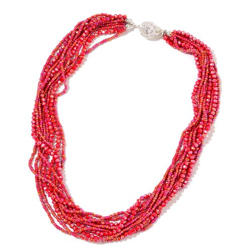 Designer Inspired- Set of 2 - Simulated Ruby and White Austrian Crystal Necklace (Size 17 and 19) in Silver Tone