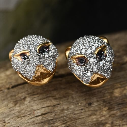 J Francis - Desginer Inspired- 14K Gold Overlay Sterling Silver (Rnd) Leopard Stud Earrings (with Push Back) Made with SWAROVSKI ZIRCONIA and Boi Ploi Black Spinel, Number of Swarovski 194.
