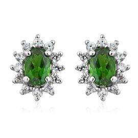 Russian Diopside (Ovl), Natural Cambodian Zircon Stud Earrings (with Push Back) in Platinum Overlay Sterling Silver 1.250 Ct.