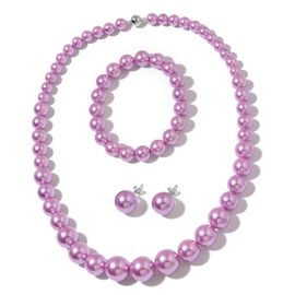 Purple Shell Pearl (Rnd) Graduated Necklace (Size 20) with Magnetic Clasp, Stretchable Bracelet (Size 7) and Ball Stud Earrings (with Push Back) in Rhodium Plated Sterling Silver