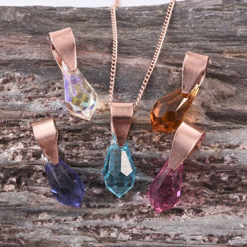 Crystal from Swarovski - Tanzanite Colour Crystal, Citrine Colour Crystal, Topaz Colour Crystal, AB Colour Crystal and Light Rose Crystal 5 Pendant With 1 Chain in Rose Gold Overlay Sterling Silver