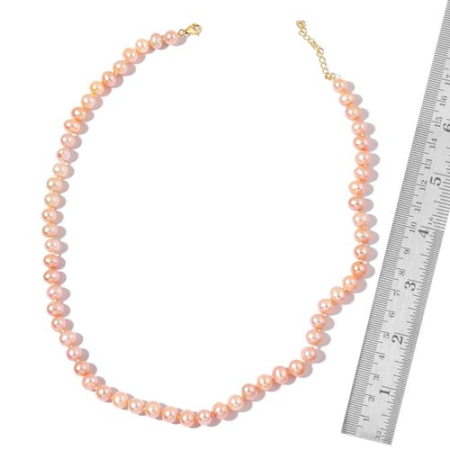 9K Yellow Gold AAA Fresh Water Purple Pearl (7-8mm) Necklace (Size 18 with 2 inch Extender)