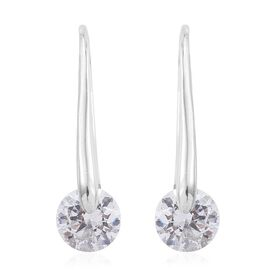 Preview Auction-J Francis - Platinum Overlay Sterling Silver (Rnd) Hook Earrings Made with SWAROVSKI ZIRCONIA