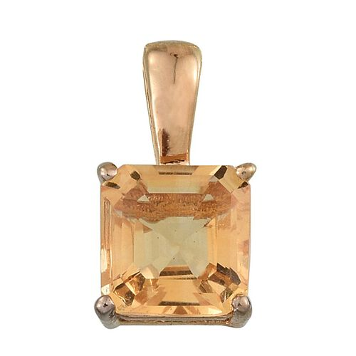 Citrine (Oct) Solitaire Pendant in 14K Gold Overlay Sterling Silver 1.500 Ct.