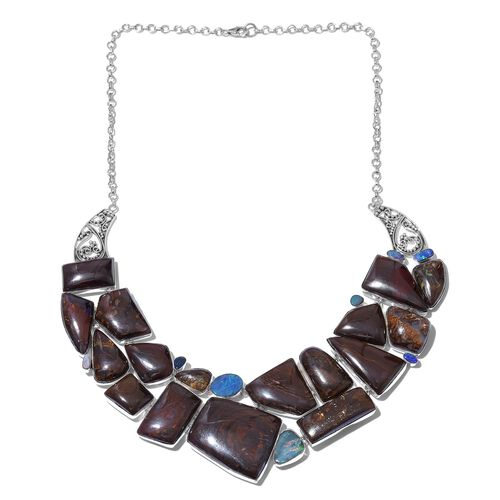 One Off A Kind- Australian Boulder Opal Rock and Opal Double Necklace (Size 18) in Sterling Silver 485.450 Ct. Silver wt 59.11 Gms.