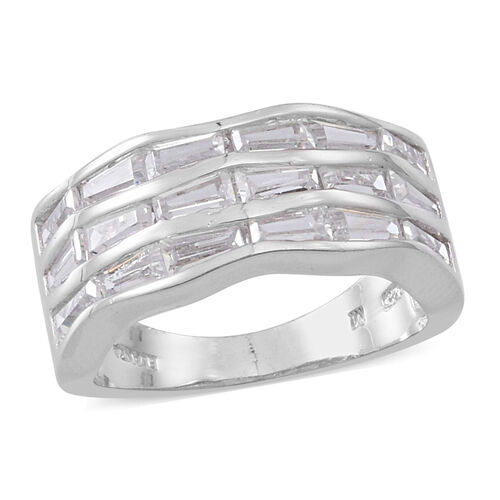 Simulated Diamond (Bgt) Ring in Rhodium Plated Sterling Silver