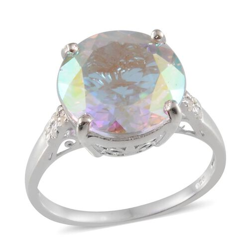 Mercury Mystic Topaz (Rnd 11.00 Ct), Diamond Ring in Platinum Overlay Sterling Silver 11.040 Ct.
