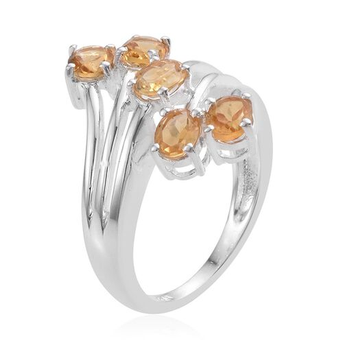 Citrine (Ovl) 5 Stone Crossover Ring in Sterling Silver 1.500 Ct.