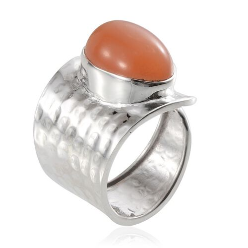 Jewels of India Mitiyagoda Peach Moonstone (Ovl) Adjustable Solitaire Ring in Sterling Silver 9.390 Ct.
