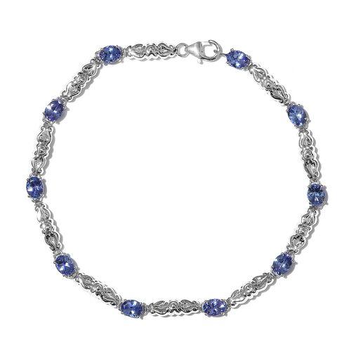 3.75 Ct AAA Tanzanite Bracelet in 9K White Gold 8 Inch