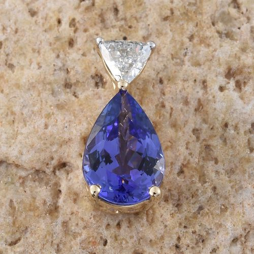 New York Collection - 14K Yellow Gold Tanzanite (Pear 1.35 Ct), Diamond (I3/G-H) Pendant 1.500 Ct.