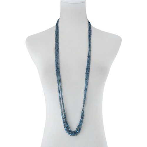 Set of 4 - Blue Glass Multi Strand Beaded Necklace (Size 42)