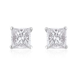 ILIANA 18K White Gold IGI Certified 0.50 Ct Princess Cut Diamond SI/G-H Stud Earrings (with Screw Back)