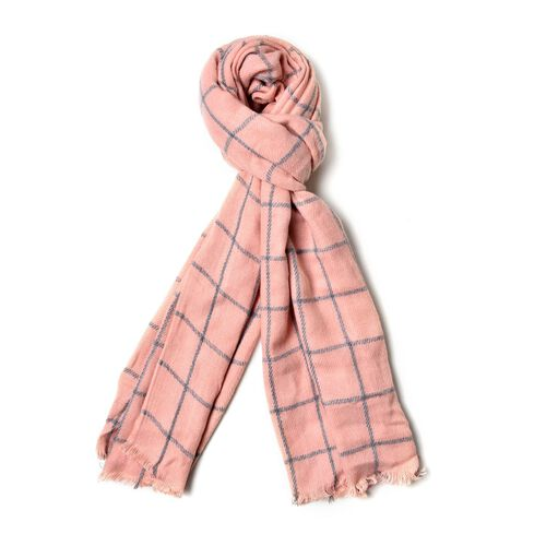 Peach and Grey Colour Checks Pattern Scarf with Fringes (Size 200x55 Cm)