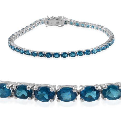 Malgache Neon Apatite (Ovl) Bracelet in Platinum Overlay Sterling Silver (Size 8) 7.500 Ct.
