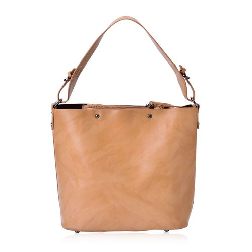 Sienna Light Tan Bucket Bag with Adjustable Shoulder Strap (Size 30x30x14 Cm)