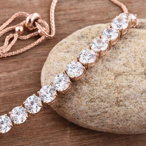 J Francis - 9K Rose Gold (Rnd) Adjustable Bracelet (Size 6.5 to 9.5) Made with SWAROVSKI ZIRCONIA