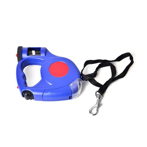 Pet Accessories- Red and Blue Colour Retractable LED Leash with Blue and White Colour Water Bottle and Plastic Bag