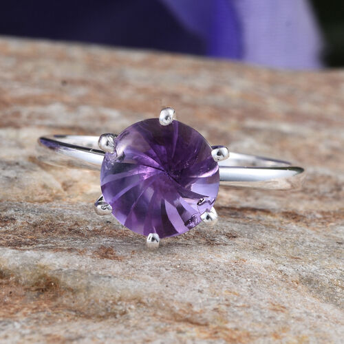 AA Brazilian Amethyst (Rnd) Solitaire Ring in Sterling Silver 2.250 Ct.