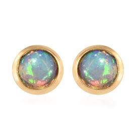 Ethiopian Welo Opal (Rnd) Stud Earrings (with Push Back) in 14K Gold Overlay Sterling Silver 1.250 Ct.