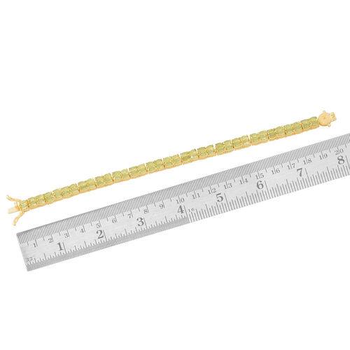 Hebei Peridot (Ovl) Bracelet (Size 7.5) in 14K Gold Overlay Sterling Silver 16.000 Ct. Silver wt 16.00 Gms.