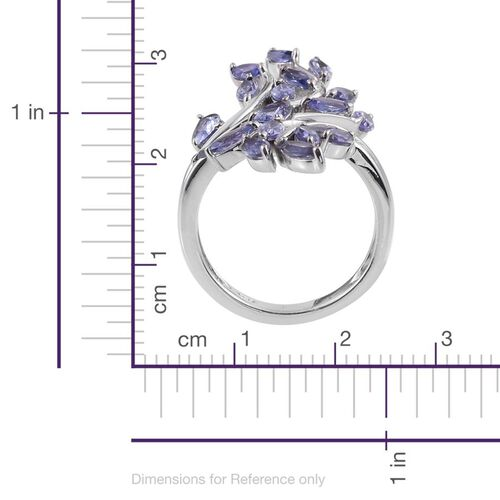 Tanzanite (Pear) Leaves Crossover Ring in Platinum Overlay Sterling Silver 3.000 Ct.