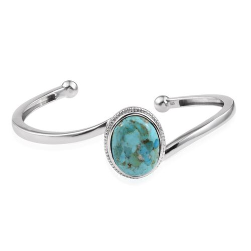 Arizona Matrix Turquoise (Ovl) Cuff Bangle (Size 7.5) in Platinum Overlay Sterling Silver 11.250 Ct.