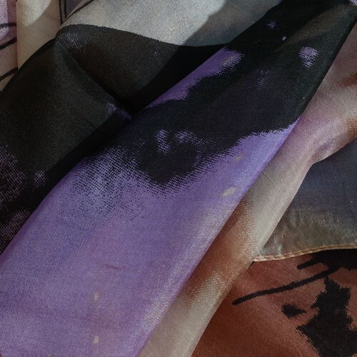100% Mulberry Silk Peach, Lavender and Multi Colour Hand Screen Printed Scarf (Size 180X100 Cm)