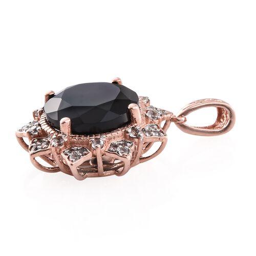 Boi Ploi Black Spinel (Rnd 12.95 Ct), White Topaz Pendant in Rose Gold Overlay Sterling Silver 13.500 Ct.