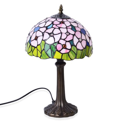 Luxury Edition - Tiffany Style Table Lamp with Stained Glass Mosaic Shade in Floral Design (Size 25 cm diameter x 40 cm H)