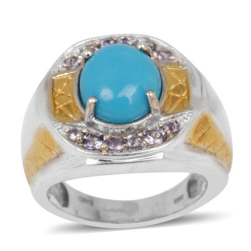 Arizona Sleeping Beauty Turquoise (3.50 Ct),Tanzanite Ring in Platinum Overlay Sterling Silver 4.225 Ct.