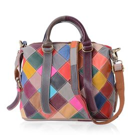 100% Genuine Leather Multi Colour Checks Pattern Tote Bag with External Zipper Pocket (Size 28.5x25x12 Cm)