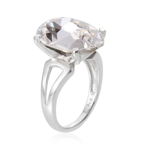 Crystal from Swarovski - White Crystal (Ovl) Ring in ION Plated Platinum Bond