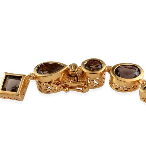 Brazilian Smoky Quartz (Ovl) Bracelet in 14K Gold Overlay Sterling Silver (Size 8) 17.750 Ct.