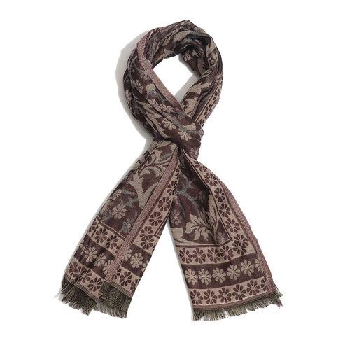 Multi Colour Reversible Floral Pattern Burgundy Colour Scarf (Size 195x65 Cm)
