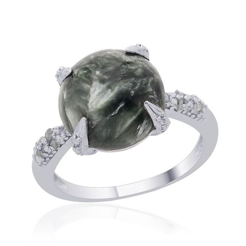 Siberian Seraphinite (Rnd 4.75 Ct), Diamond Ring in Platinum Overlay Sterling Silver 4.800 Ct.