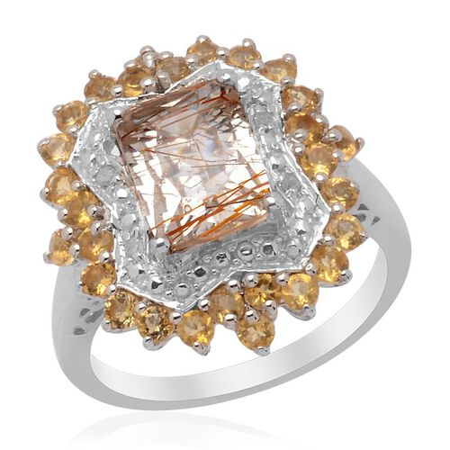 Aurelia Rutilated Quartz (Oct 2.00 Ct) Citrine and Diamond Ring in Platinum Overlay Sterling Silver 2.770 Ct.