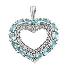 Paraiba  Apatite (Ovl), Natural Cambodian Zircon Heart Pendant in Platinum Overlay Sterling Silver 3.750 Ct.