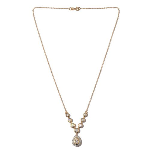 J Francis - 14K Gold Overlay Sterling Silver (Pear and Rnd) Necklace (Size 18) made with SWAROVSKI ZIRCONIA