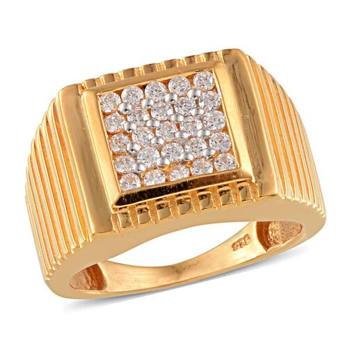 J Francis - 14K Gold Overlay Sterling Silver (Rnd) Ring Made with SWAROVSKI ZIRCONIA 0.550 Ct.