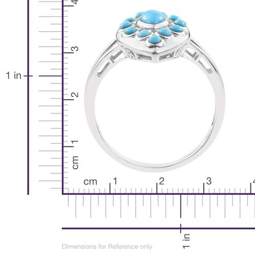 Arizona Sleeping Beauty Turquoise (Mrq) Ring in Platinum Overlay Sterling Silver 1.000 Ct.