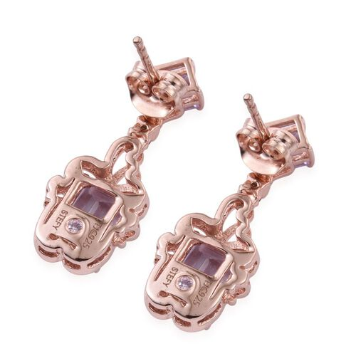 Stefy Rose De France Amethyst (Oct), Pink Tourmaline and Pink Sapphire Earrings (with Push Back) in Rose Gold Overlay Sterling Silver 3.250 Ct.