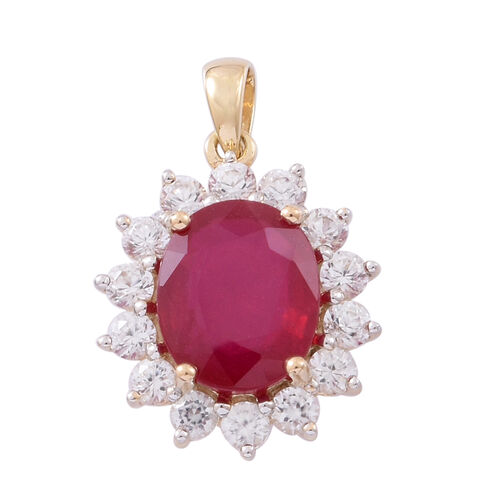 9K Yellow Gold AAA Rare Size African Ruby (Ovl 12x10 mm), Natural White Cambodian Zircon Pendant 9.25 Ct