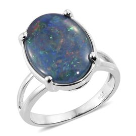 Australian Boulder Opal (Ovl 16x12mm) Solitaire Ring in Platinum Overlay Sterling Silver