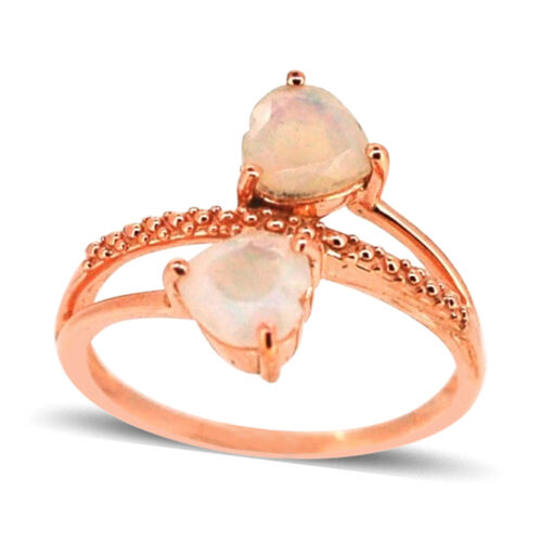 Ethiopian Welo Opal (Hrt) Ring in Rose Gold Overlay Sterling Silver 1.000 Ct.