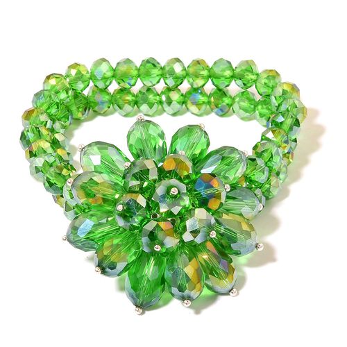 New Arrival - Simulated Russian Diopside Floral Stretchable Bracelet (Size 6.5)