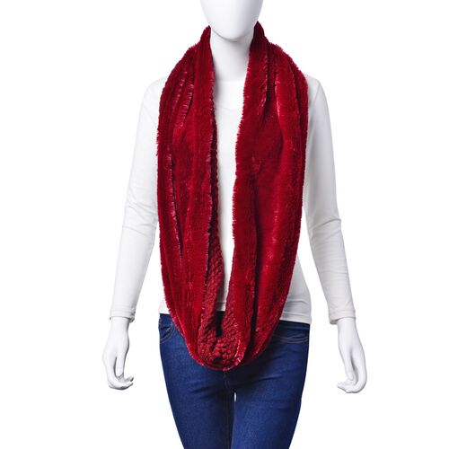 Designer Inspired Double Layered Infinity Red Scarf (Size 20X80 Cm)