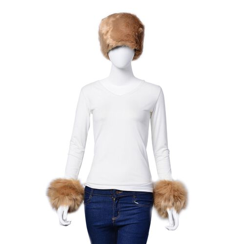 Khaki Faux Fur Set of Hat (One Size elasticated) and Wristband (Size 10 Cm)