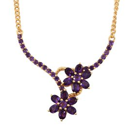 AA Amethyst 3 Ct Floral Necklace in Gold Plated Silver 18 Inch