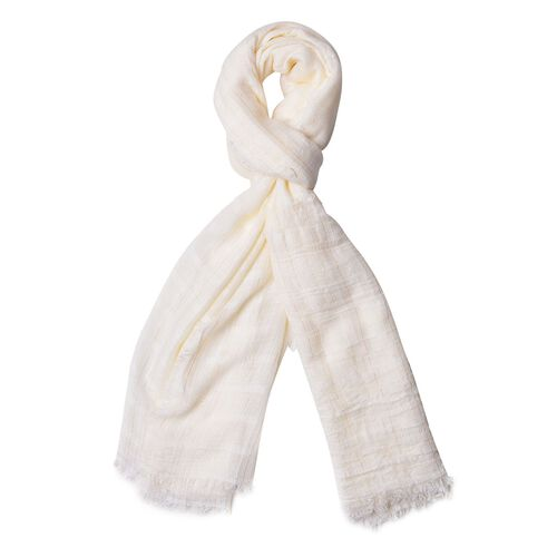White Colour Stripes Pattern Scarf with Fringes (Size 180X110 Cm)